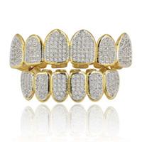 18k oro grillz al por mayor-Juego de Grillz dorado con circonio cúbico de lujo con baño de oro real de 18 quilates y barras de moldeado adicionales incluidas
