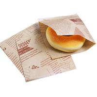bolsas para empacar pan al por mayor-100pcs 12x12cm Sandwich Donut Bread Bag Biscuits Donut Paper Bags Pan a prueba de aceite Craft Bakery Packing Kraft