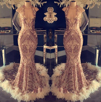 vestido de la celebridad de la tarde de sirena al por mayor-2019 Lujo Halter Feather Sirena Vestidos de noche Lentejuelas Encaje Top Vestidos de fiesta formales Fiesta formal Celebrity Gowns BC1048