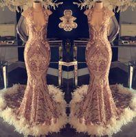 vestidos de baile de penas azuis venda por atacado-2019 Luxo Halter Pena Sereia Vestidos de Noite Lantejoulas Lace Top Formais Prom Vestidos Formais Partido Celebridade Vestidos BC1048