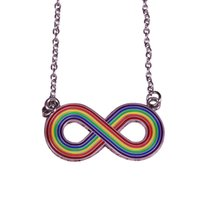 Wholesale endless love jewelry resale online - Infinity symbol adjustable necklace rainbow pride pendant endless love jewelry Christmas birthday gift