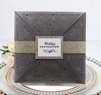 convites florais de papel venda por atacado-2019 Novos Convites De Casamento De Papel Em Branco Folha Interna Corte A Laser De Casamento Convite Flores Oco Cartões de Casamento Convite de Noivado