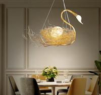 Wholesale swan pendants gold resale online - Nordic Swan Bird Nest Pendant Lights Living Room Restaurant Dining Table Romantic Lamp Art Deco Hanging Lights Cafe Bar Lighting LLFA