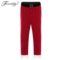 traje de cosplay vermelho venda por atacado-Red Mens Adulto macio Velvet Natal de Papai Noel Long Pants Cosplay soltos Calças