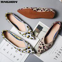 Wholesale ballerina casual shoes resale online - TINGHON New Spring Women Flats Shoes Leopard Print Women Shoes Casual Single Ballerina Shallow Mouth