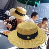 Luxury Designer Sun Hats Small Bee Straw Hat European and American Retro Gold Braided Hat Female Loose Sunscreen Flat Cap Visors Hats