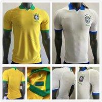 trajes amarelos venda por atacado-2019 2020 Versão do Jogador Brasil Camisas de Futebol NEYMARJR PELE RONALDINHO COUTONHO G. JESUS Costume Brasileiro Casa Camisa de Futebol Amarelo Branco