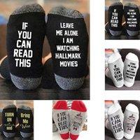 yılbaşı uzun çorapları toptan satış-SICAK Hallmark Filmler Çorap Noel Çorap Ben komik Çorap Kış Sıcak Yumuşak Pamuk Uzun Çorap Çocuk Yetişkinler için HALLMARK FİLMLERİ izliyorum