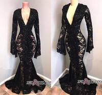 Wholesale Dresses - 2019 New Real Photos V Neck Full Lace Evening Dresses Black Long Sleeves Sexy Mermaid Prom Dresses Floor Length robes de soirée