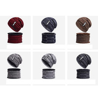 Wholesale basketball beanie hats resale online - Autumn And Winter Keep Warm Hat Men Cashmere Letter Knitted Cap Collar Two Piece Suit Pure Color Beanies ZZA896