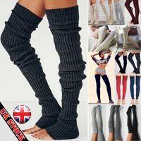 обогреватели для ботинок оптовых-2019 New Leg Warm Stocking Womens Winter Knit Crochet Knitted Leg Warmers Thigh High Legging Boot Cover Hot