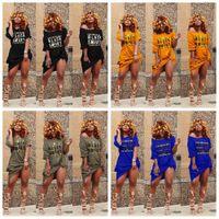 siyah xl kapalı omuz elbisesi toptan satış-Kapalı Omuz T Gömlek Elbise Kadınlar Seksi Siyah Akıllı Mektup kalça Slash Boyun gece kulübü Cep Yaz Kısa Kollu Orta Buzağı Elbise AAA2042