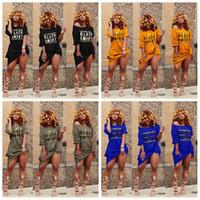 ingrosso le donne fianchi sexy-Off spalla T Shirt Dress Women Sexy Black Smart Letter hip Slash Neck night club Tasca estiva manica corta vestito a metà polpaccio AAA2042
