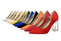 размер 12 каблуков оптовых-Горячая распродажа плюс размер от 34 до 40 41 42 43 сексуальные высокие каблуки остроконечные туфли на высоком каблуке конфеты красочные атласные туфли 12 цветов женская дизайнерская обувь