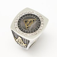 Wholesale two tone gold jewelry set resale online - Stainless Steel Men s Gold Silver Two Tone Color Full Metal Eye of Horus Pyramid Ring Freemason Illuminati Jewelry
