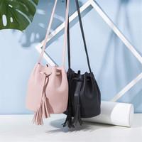 saco de celular para meninas venda por atacado-Novo Designer de borlas Vintage cordão balde bolsas ombro messenger bag saco do telefone móvel presente da menina DHL