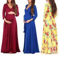 colarinho de maternidade venda por atacado-Vestidos Longos de Maternidade Vestidos de Mulher Plus Size Vestidos Vestidos de Maternidade Longos Comprimento Cruz V Collar Floral Elbow Sleeve Waistband 6