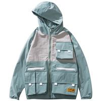Wholesale block fashion men resale online - Men Hip Hop Jacket Streetwear Retro Harajuku Hooded Jacket Windbreaker Mult Pockets Color Block Track Jacket Coat Hoodie