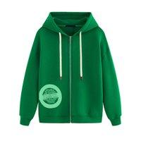 pulôver verde suéter venda por atacado-19FW clássico logotipo impresso Verde revestimentos encapuçados Sólidos camisola Homens Mulheres Rua Zipper Hoodies Outono Inverno camisola Outwear HFYMWY292