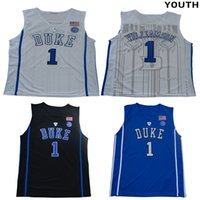 camisetas de baloncesto azul niños al por mayor-Juventud # 1 Zion Williamson universidad Duke Blue Devils jerseys blanco negro azul niños tamaño baloncesto camiseta cosida envío gratis