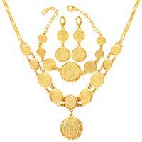 kadın paralı bilezikler toptan satış-Kadınlar 18 K Altın Kaplama Müslüman Sembol Coin Boncuklu Kolye Bilezik Küpe Seti Kolye Küpe Bilezik Seti