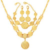 collar pulsera de cuentas al por mayor-Mujeres 18 quilates chapado en oro símbolo musulmán moneda collar de cuentas pendientes aretes conjunto collar pendiente pulsera conjunto