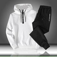 ingrosso autunno maschile-Imposta Tuta Uomini Autunno Inverno Felpa con cappuccio con coulisse Outfit Sportswear maschile Suit Pullover insieme a due pezzi casuale