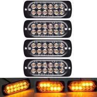 auto führte strobe nebel licht groihandel-4 PC-12-Led Bernstein Flash-Flashing Recovery-Strobe Auto Notsignal LED orange Grill Pannen Licht-Nebel-Licht Beacon