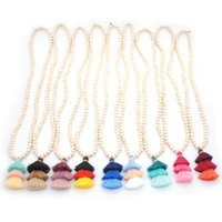 Wholesale round wooden necklace for sale - Group buy 201910 Christmas Gift Wooden Monogram Blanks mm Round Natural Wood Beaded Chain Cotton Layered Tassel Pendant Long Chain Necklace M799F
