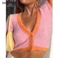 sueter mohair rosa al por mayor-las mujeres chaqueta de punto rosa suéteres suéter coreano de cultivos de otoño amarillas encabeza caída suéter corto de mohair chaqueta de punto de manga larga v cuello 2019 Y191021