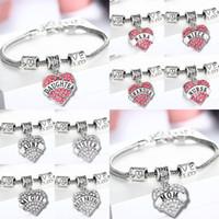 ingrosso credi l'amore-Diamond Love Heart Bracelet 45 tipi Mamma zia Figlia Nonna Credi Hope best friends Braccialetto di cristallo Fshion Party Gift TTA861