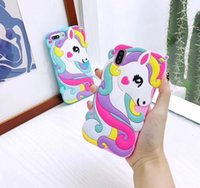 farben mobil großhandel-10 dhl einhorn handy shell iphone 6 6s 6p 6sp7 8 7p 8p x xr xs farbe pferd silikagel schutzhülle