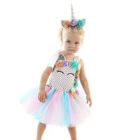 Wholesale baby girls handmade tutu dress for sale - Group buy Retail kids designer dress girls flower unicorn lace pettiskirt princess dress baby girl handmade Knitted Halloween costume cosplay dresses