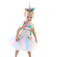 vestido de niña tutu hecho a mano al por mayor-Venta al por menor de los niños vestido de diseñador niñas flor unicornio encaje pettiskirt princesa vestido de niña hecha a mano de punto de Halloween disfraces cosplay vestidos