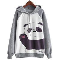 karikatür hoodie bayanlar toptan satış-Lady Kızlar Sonbahar Kış Güzel Karikatür Panda Baskılı Rahat Kazak Moda Kazak Hoodies