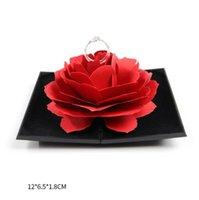 роза цветок кольцо поле оптовых-3D Pop Up Rose Flower Ring Box Классический Элегантный Свадебный Обручальное Хранение Ювелирных Изделий Держатель Чехол Для Любви Жены Подруги