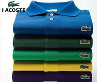 camisas de polo slim fit para hombre al por mayor-2201-6 de cocodrilo manga corta de los polos para hombre Botón de ajuste delgado ocasional del verano Camisas polo de los hombres a estrenar Negro Púrpura Rojo Blanco Tamaño 6XL