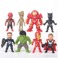 Wholesale new toy iron man online - 8pcs set New Style The Avengers Infinity War Figure toys Thanos Iron Man spiderman Captain America Hulk buster model Figure Toy