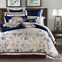 Wholesale royal beds for sale - 4 Luxury silk cotton Jacquard Royal Garden Bedding Set Quality Duvet Cover Set Bed Sheet Pillowcases Queen King Size