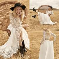 Wholesale sexy two piece wedding dresses for sale - Group buy 2020 Modest Rembo Styling Bohemian Jewel Long Sleeve Two Piece Wedding Dresses Lace Tulle Wedding Gown Sweep Train robe de mariée