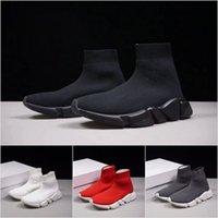 nuevas botas de velocidad al por mayor-2019 New Paris Luxury Sock Shoe Speed Zapatos casuales Zapatillas Speed Trainer Sock Race zapatos de moda para mujer otoño invierno Botas Envío gratis