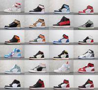 mediados de zapatos hombres al por mayor-Nike Jordan New Men 1s UNC Blue Chill Love 1 WMNS Panda Phantom Sail Red Mid Multicolor Gris Gris Carmesí Zapatos de baloncesto Zapatillas de deporte con caja