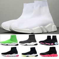 модные мужские ботинки оптовых-2019 Top Quality Speed Trainer носки обувь для мужчин, женщин тройной черный белый красный Повседневная обувь Модельер кроссовки лодыжки ботинок
