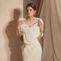 vestido de noiva de pele venda por atacado-CMS18086 Dama de Honra Dama De Honra Envoltórios Boleros Casamento Noite Prom Baile Casamento Brider Bridesmaid vestido de Festa de Casamento Da Dama De Honra Wraps