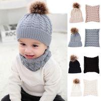 Wholesale scarves fur resale online - Baby Knitted Hat Scarf Set Fashion Winter Warm Boys Girls Pompom Fur Ball Hats Kids Knitted Scarves Neck Set TTA1283