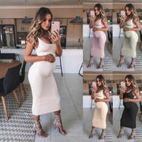 kıyafetler için model toptan satış-Yaz Kayış Katı Annelik Elbiseler Kolsuz Hamile Annelik Elbise Zarif Gelinlik Modelleri giyim Hamile Giyim 8 Boyutları