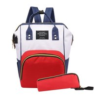 Wholesale diaper bags sets for sale - Group buy 2pcs set Mummy USB Backpack Oxford Travel Backpacks with Bottle Bag for Mom Maternity Nappy Bag Large Capacity Baby Diaper Bags