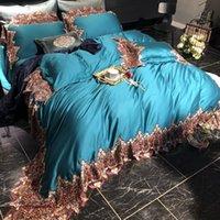 королевский синий лист оптовых-Синий Роскошный 100S Tencel Silk Soft Lace Royal Palace Пододеяльник Пододеяльник Простыня Кровать 4шт льняные наволочки Queen King Size