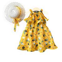 çocuklar şapkayı bağlar toptan satış-Çocuklar Kız Yaz Elbise Şifon Straplez Omuz Çiçek Baskılı Elbise Bohemian Tatil Parti Elbiseler Çocuklar Designerr Elbise Papyon Sun şapka