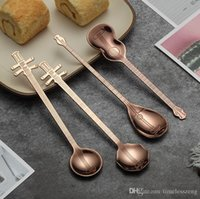 Wholesale bar instruments resale online - 5 colors stainless steel mixing spoon kinds of musical instruments shaped colorful coffee spoon tea spoon bar ice scoop